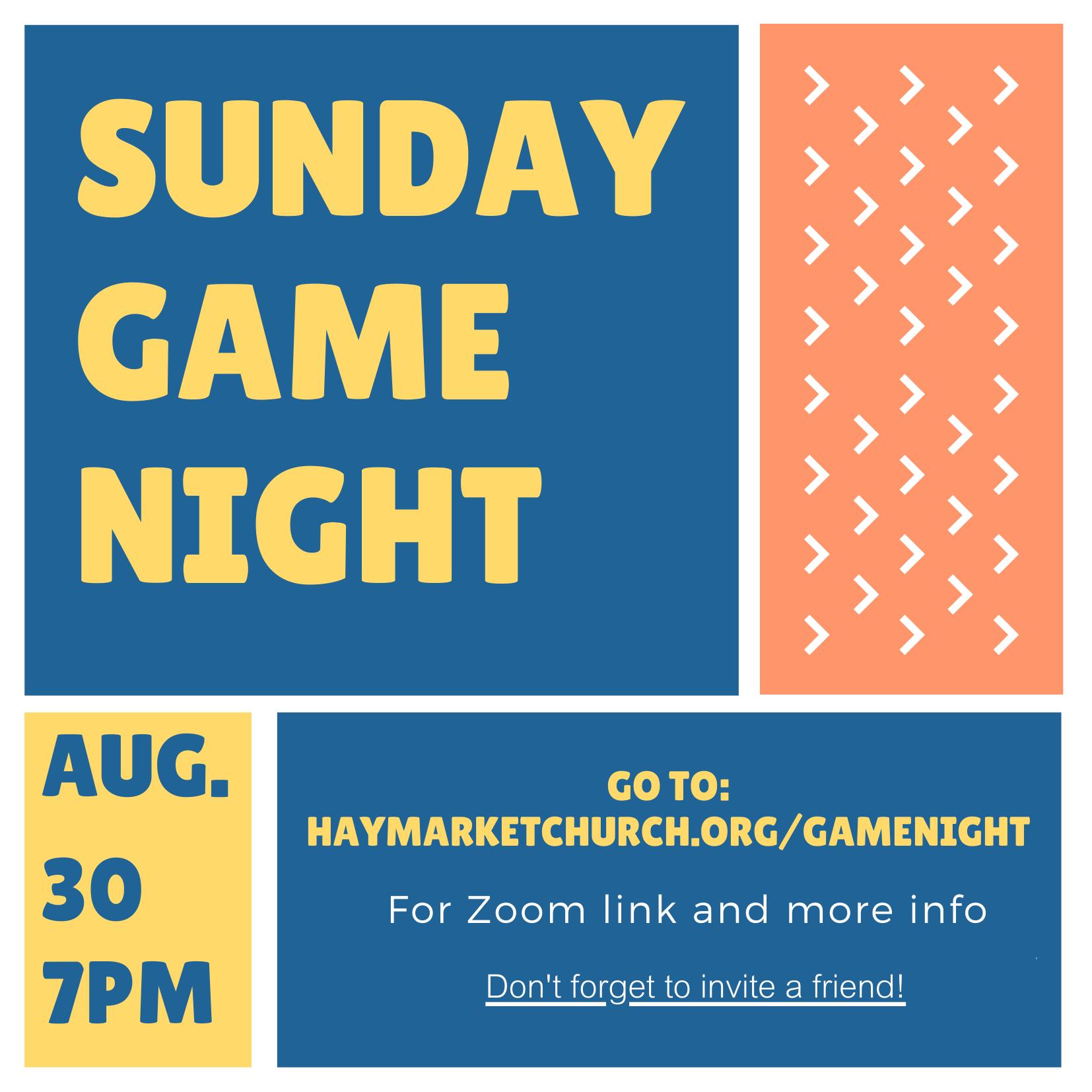 Sunday Game Night August 30