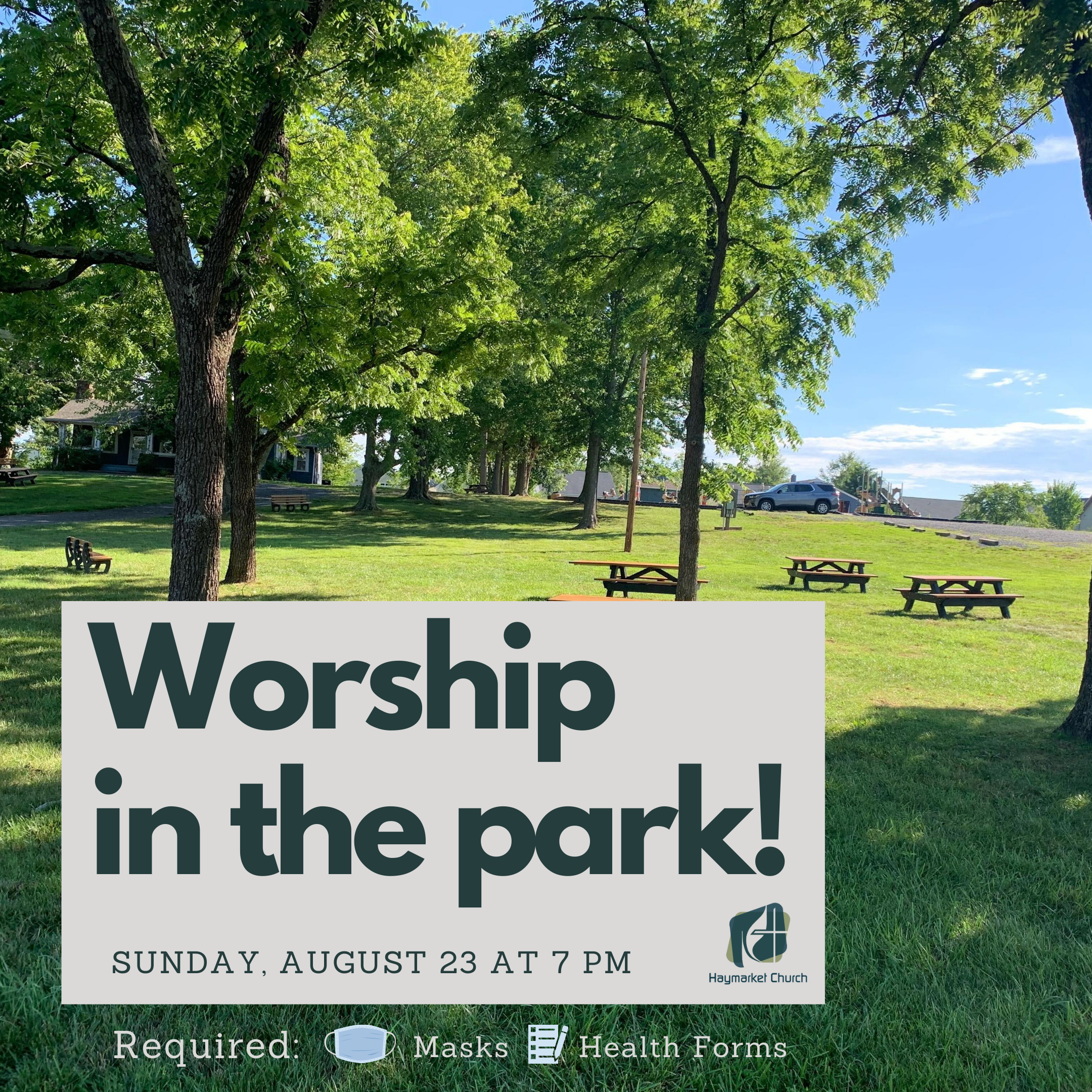 August Worship at Haymarket Town Park