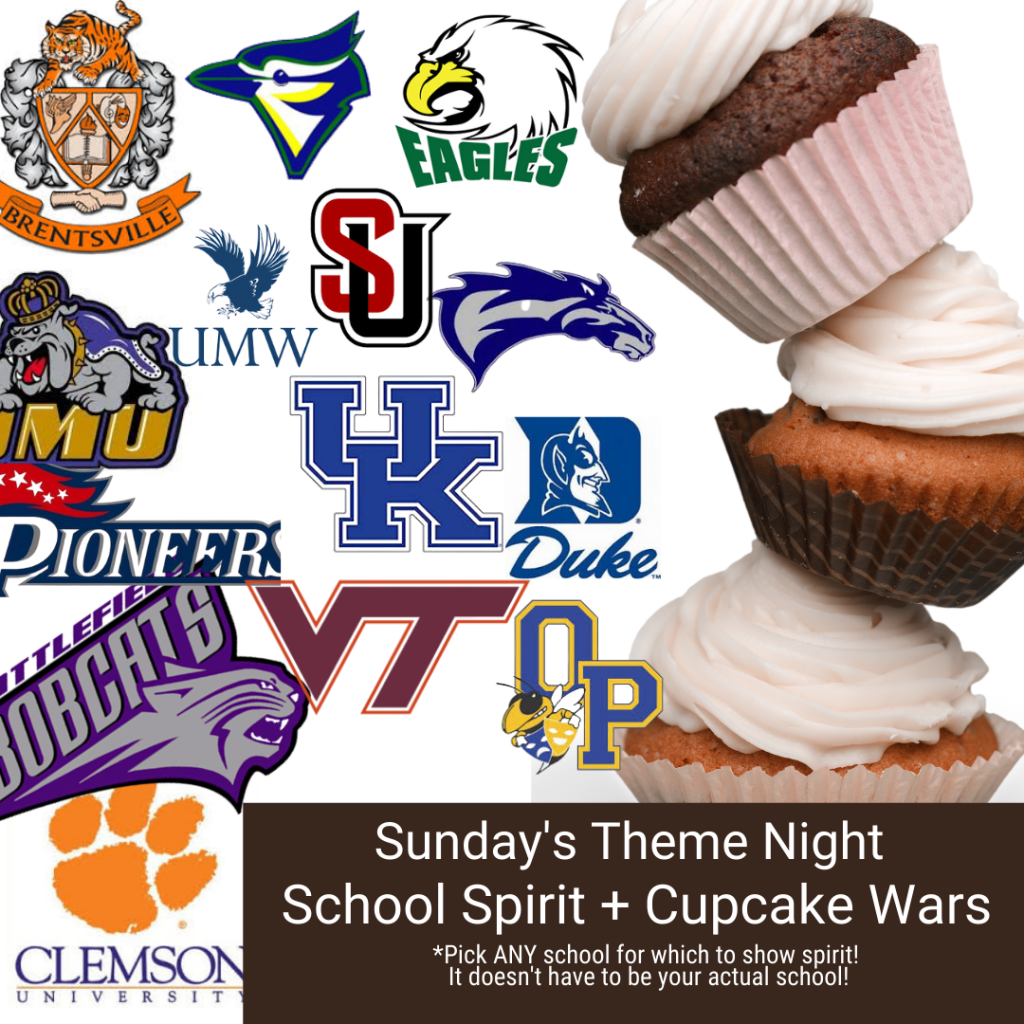 school logos and cupcakes