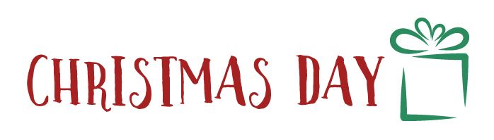 christmas day in fun font with small present icon