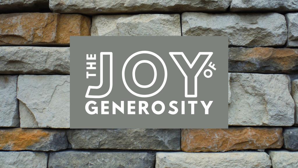 the joy of generosity logo on bricks