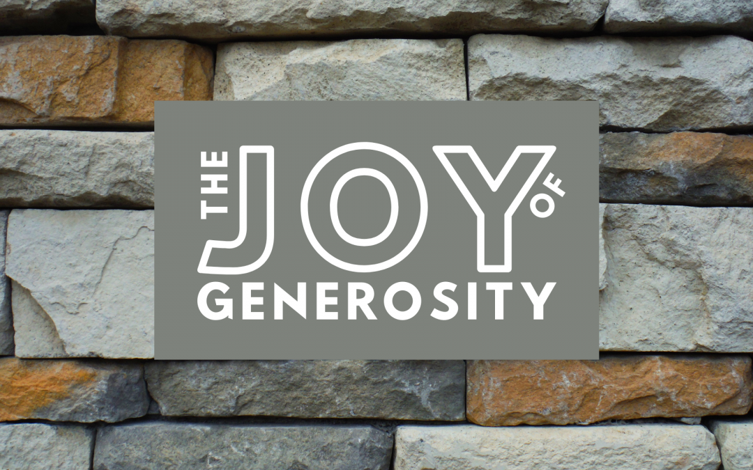 the joy of generosity logo on bricks