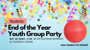 party! kickball! end of year party info