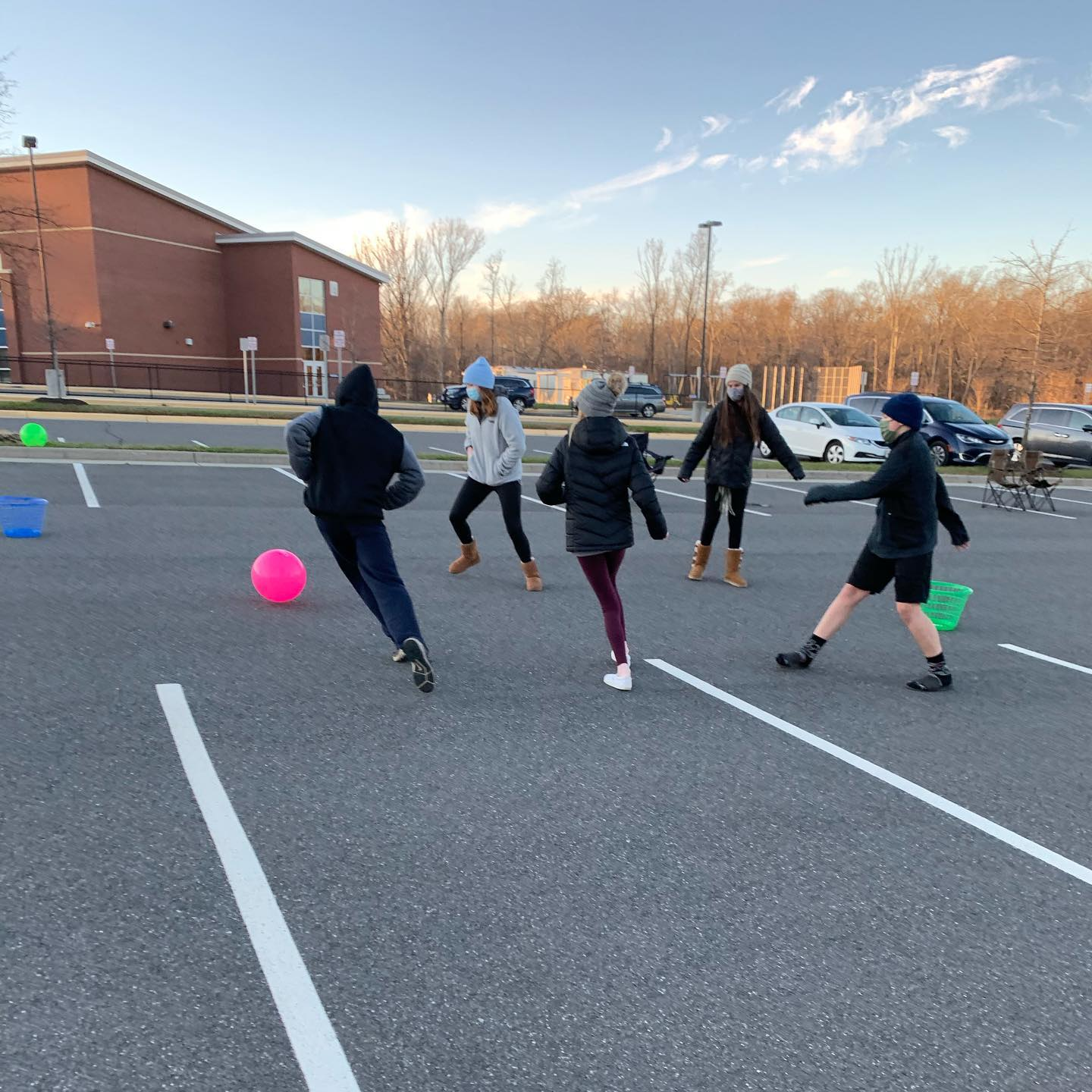 students playing outside