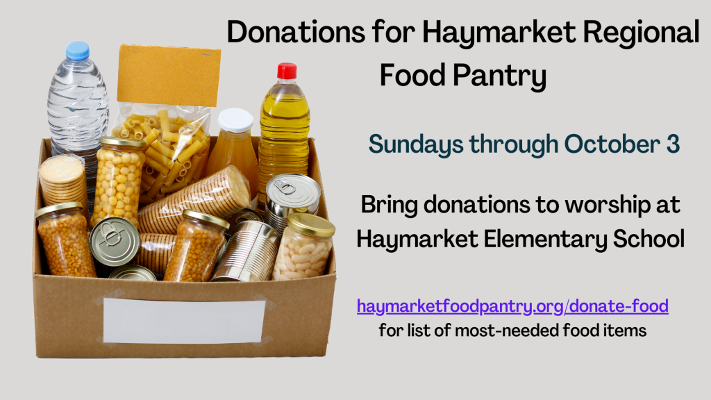 Fall Food Pantry Donations through October 3